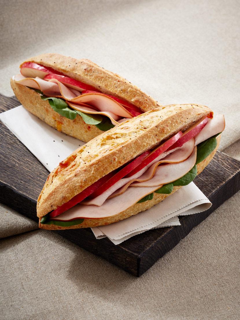 Sandwich dinde, pomme, cheddar ; sandwich du mois de mars 2019.