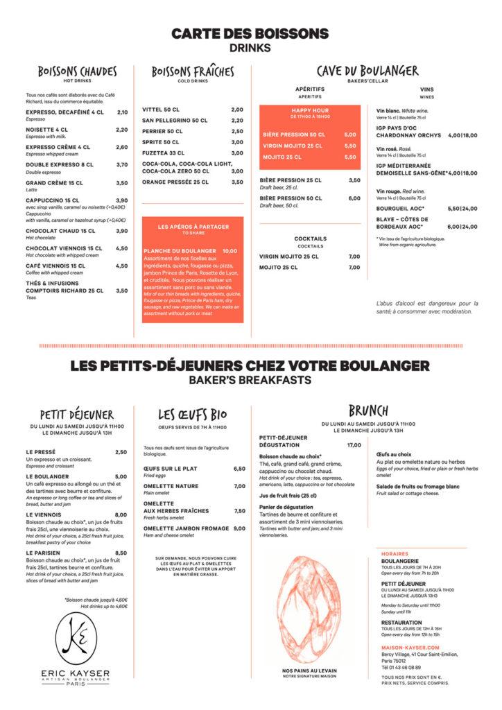 Le menu du restaurant du boulanger de Bercy 2020 Page 1