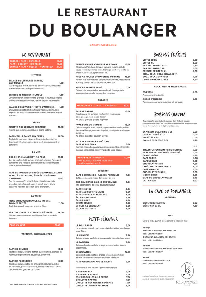 Menu Restaurant du Boulanger Automne 2020 Maison Kayser