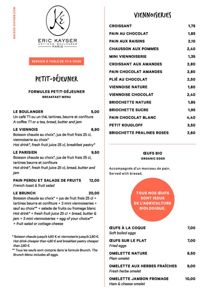 Menu boulangerie Eric Kayser Gare de Lyon