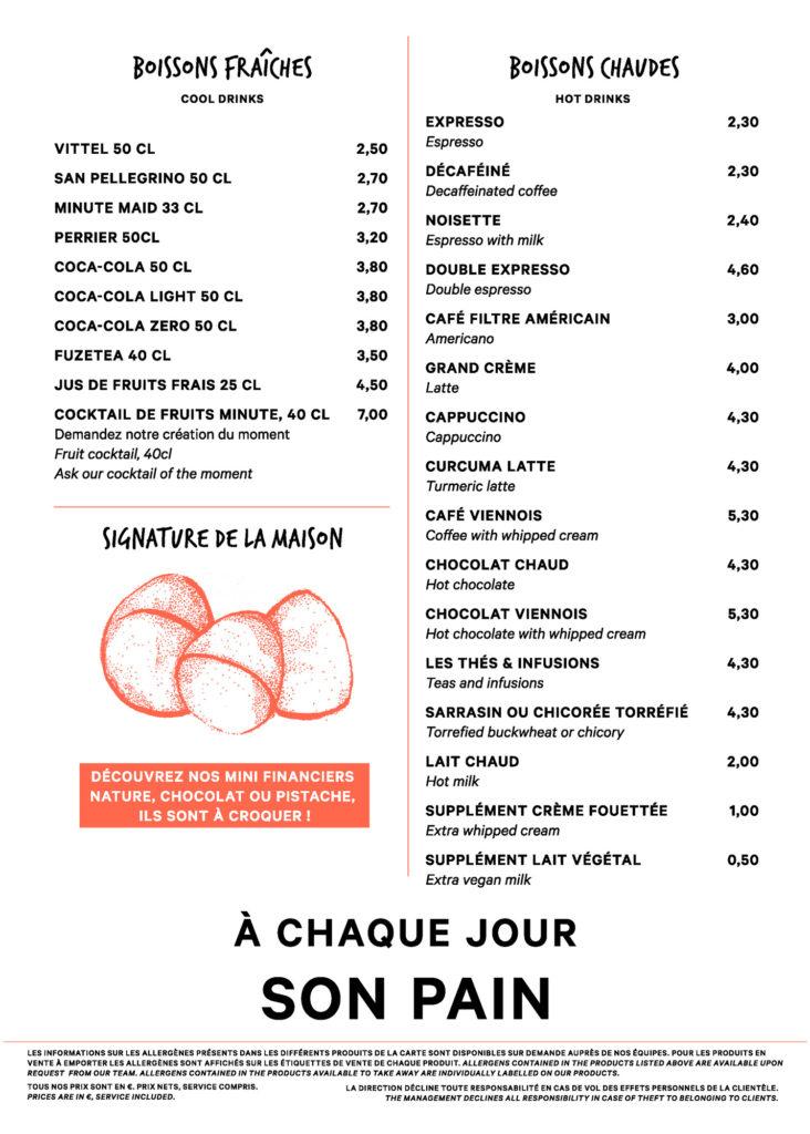 Menu boulangerie Eric Kayser Gare de Lyon page1