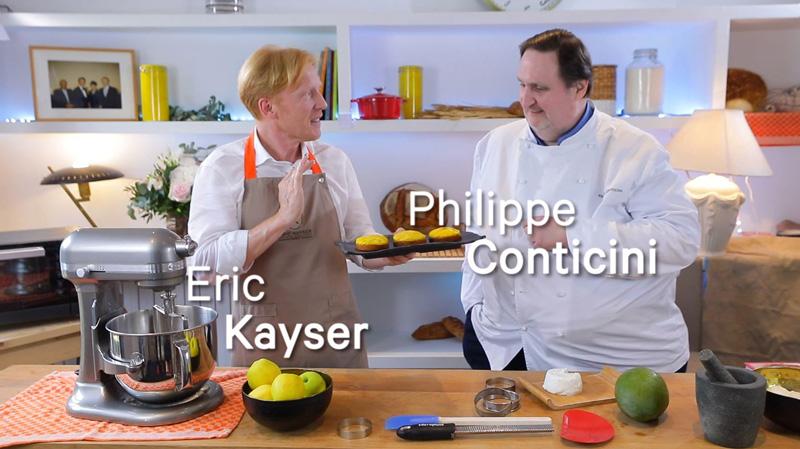 Philippe Conticini et Eric Kayser vous présente la recette de la tarte mangue sans sucres ajoutés.